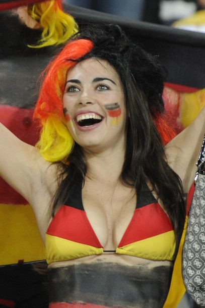 A German fan cheers prior to Group D fir