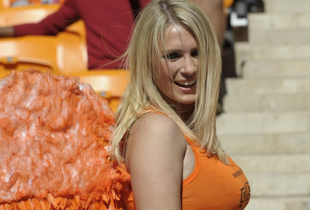 A Netherlands' supporter smiles prior th