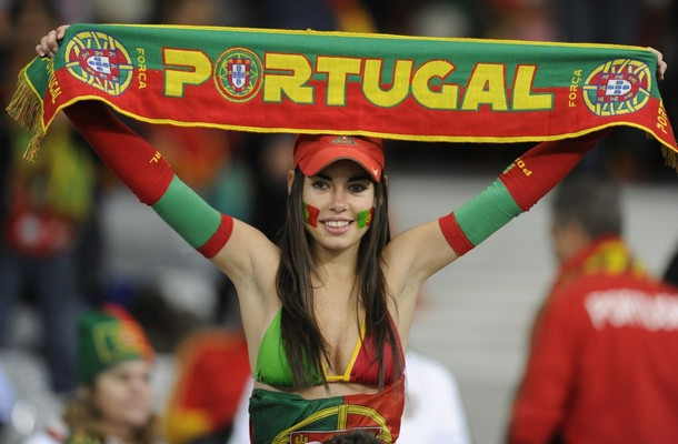 A supporter of Portugal waves the nation