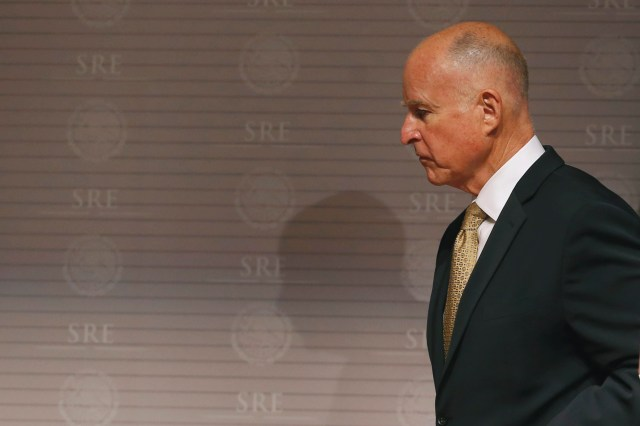 California Governor Jerry Brown is seen after a news conference at Memoria y Tolerancia museum in Mexico City