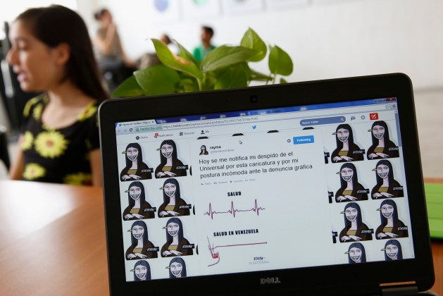 A cartoon is seen in this photograph of the Twitter web page of cartoonist Rayma Suprani, in Caracas