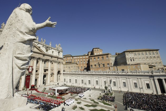 A view shows the Palm Sunday mass at Saint Peter's Square at the Vatican