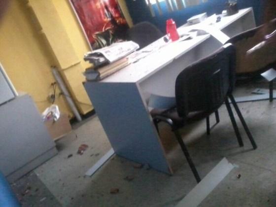 Una de las oficinas tras el ataque contra  La Región hace dos años