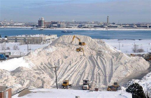 En esta imagen del 18 de febrero de 2015, una pila de nieve en Boston. El alcalde de Boston, Martin Walsh, anunció el martes 14 de julio que la antes enorme montaña de nieve sucia se había fundido oficialmente casi por completo. (Jim Walker/Conventures, Inc. via AP)