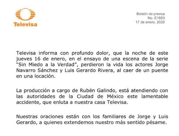TELEVISA COMUNICADO - Murieron los actores Jorge Navarro Sánchez y Luis Gerardo Rivera durante el ensayo de una serie - #Noticias