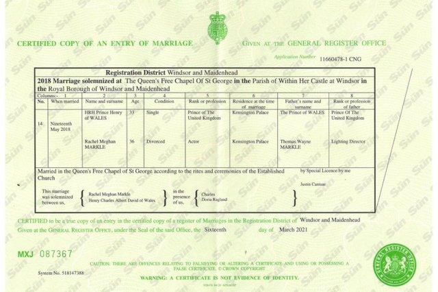 """7HMEK3JG6JBQDBUKI7IQ4NZEIU - Certificado de matrimonio de Meghan y Harry los contradice sobre su """"boda secreta"""""""
