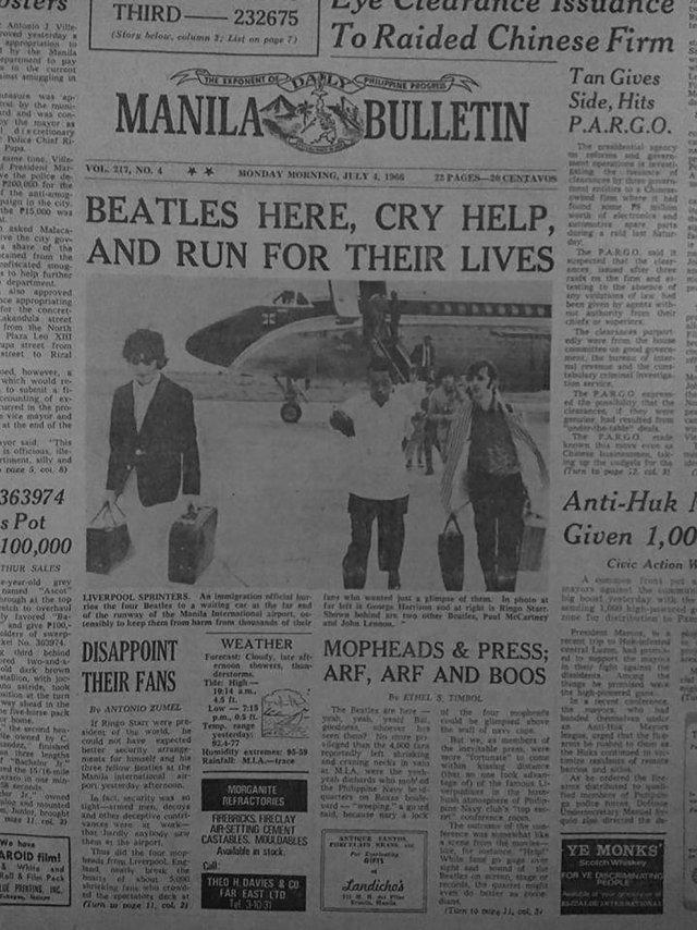 AFC2TNS5O5EE7MVGZ547ASRA5M - El día que quisieron linchar a los Beatles en Manila (Fotos)