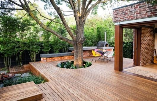 suelo de madera elevada deck