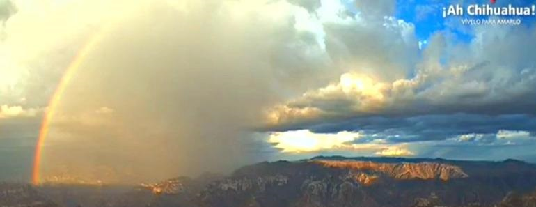 ¡Increíble! Así fue el arcoíris sobre las Barrancas del Cobre (VIDEO)