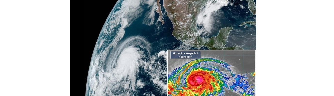 """Bárbara evoluciona a """"tremendo"""" huracán categoría 4 (VIDEO)"""