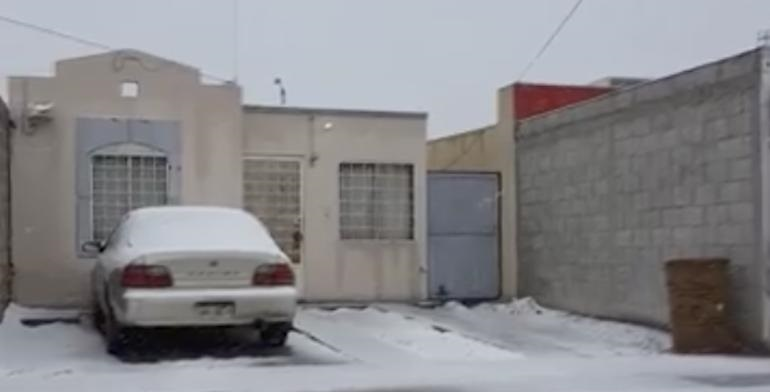 Reportan caída de nieve al sur y al suroriente de Juárez