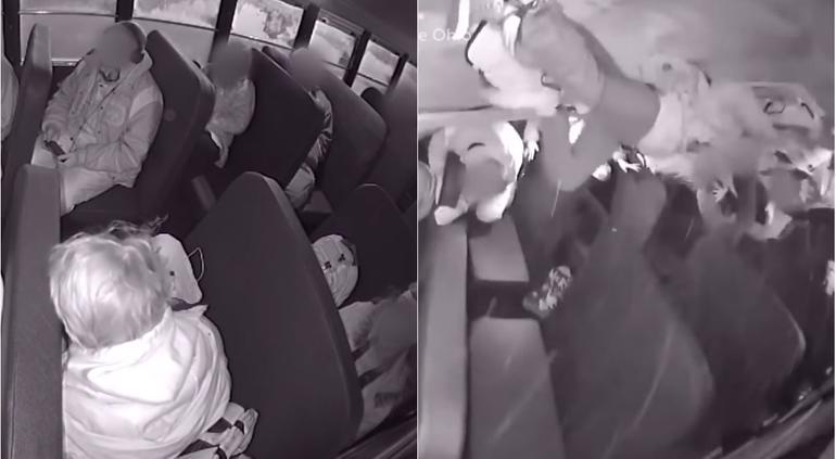 """""""Vuelan"""" pasajeros de autobús escolar en volcadura; 8 heridos (VIDEO)"""