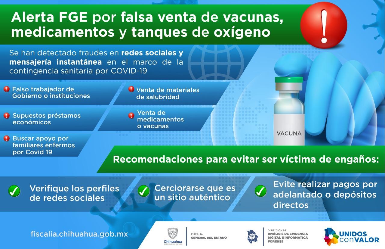 Previene FGE fraudes por falsa venta de equipo médico y vacunas por COVID 19