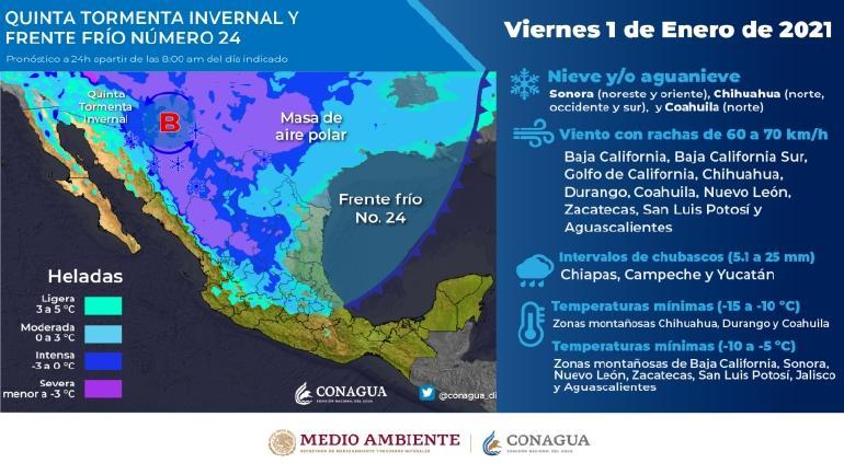Quinta Tormenta Invernal: alerta Conagua a Chihuahua por heladas