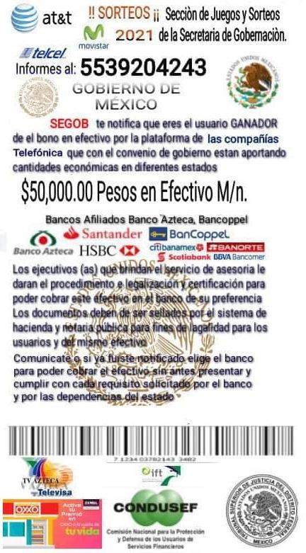 Previene FGE fraudes por supuesto bono de 50 mil pesos