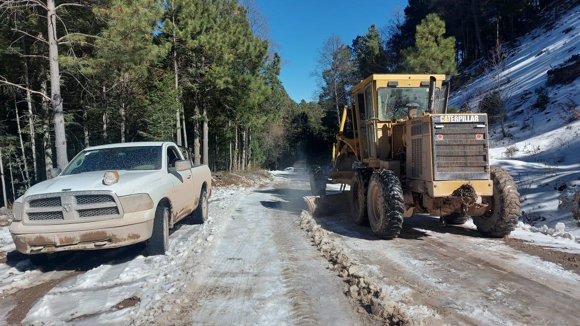 Liberan tramo de nieve en carretera Guadalupe y Calvo a Baborigame