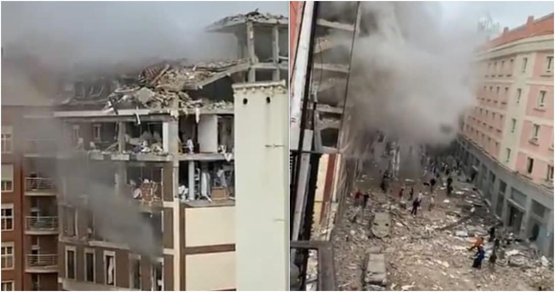 Una fuerte explosión destroza un edificio en calles del centro de Madrid