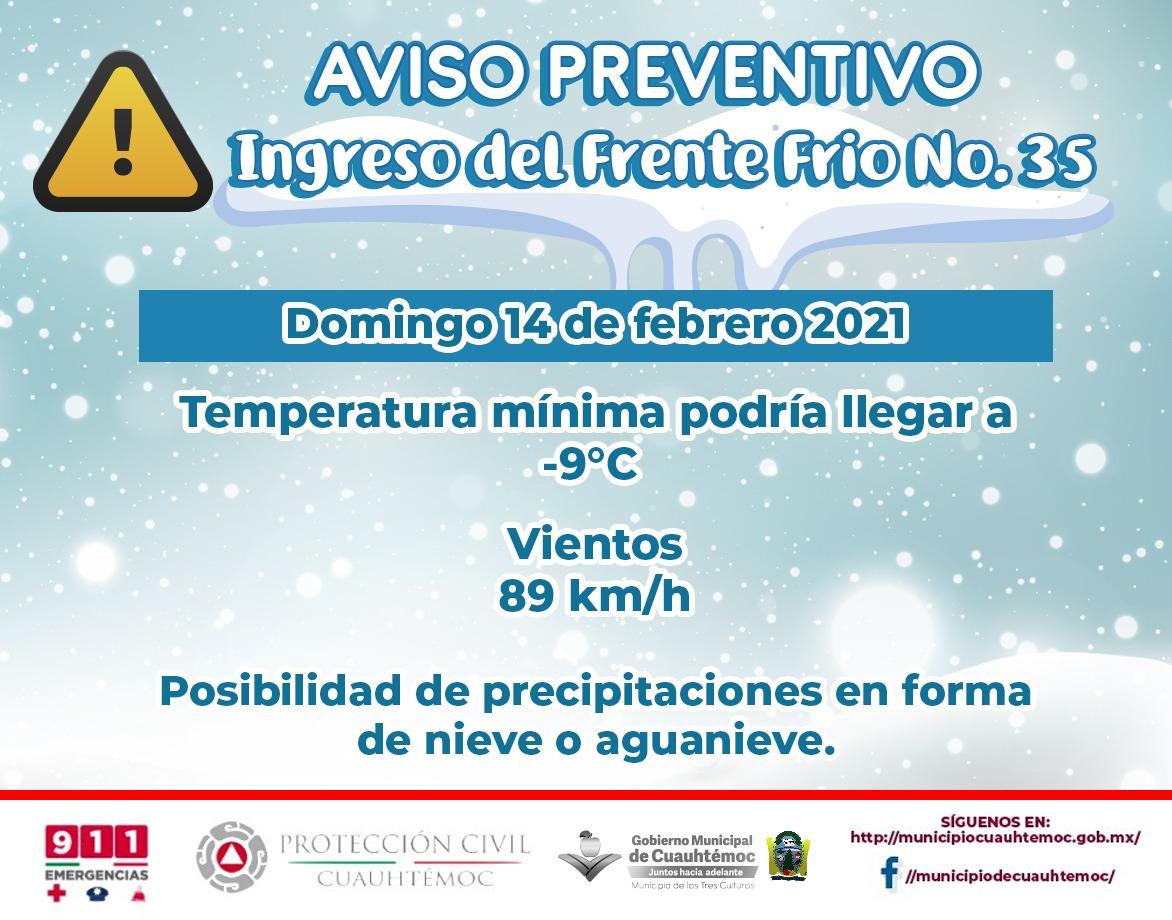 Temperatura podría descender hasta los 9 grados bajo cero en las próximas horas: Protección Civil Municipal