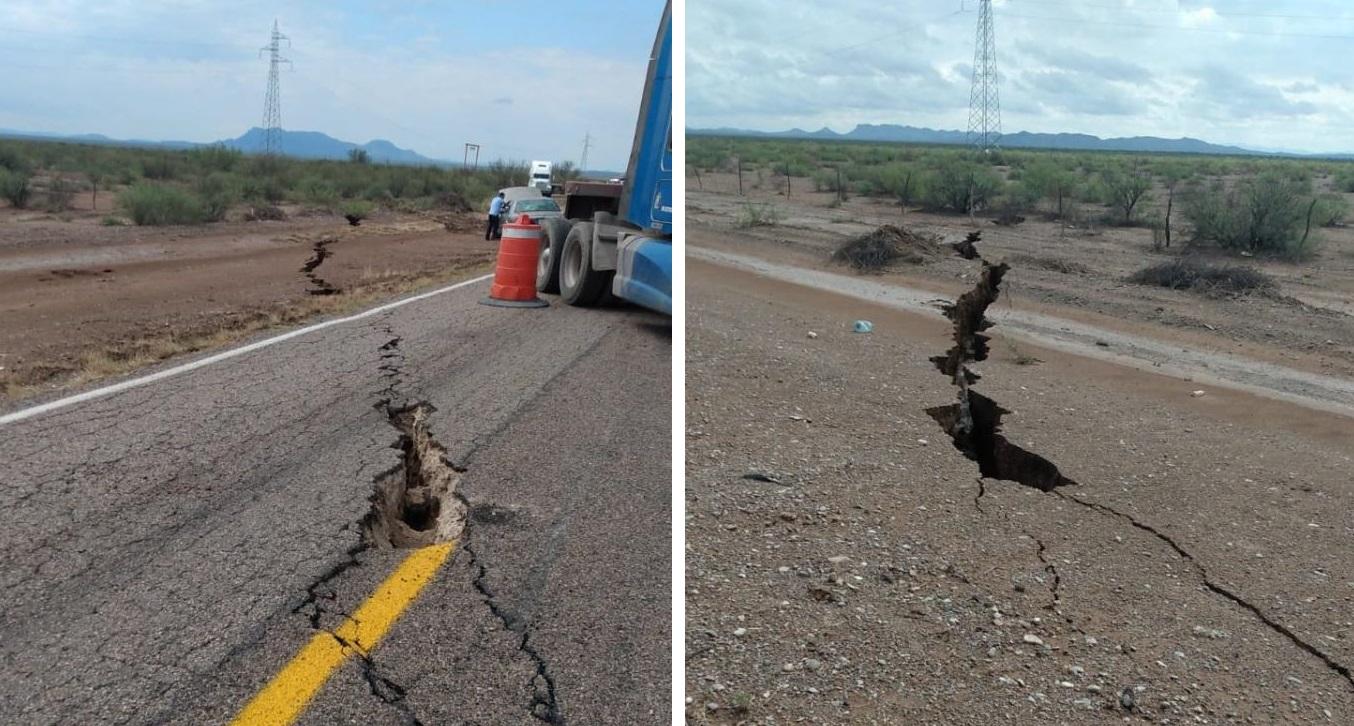 Se abre la tierra en carretera Camargo-Ojinaga