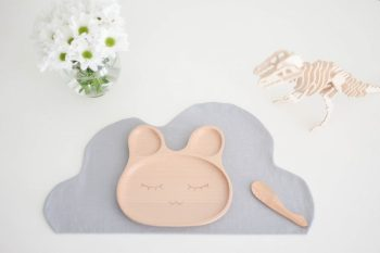 eco friendly, zero waste, wooden kids bunny plate