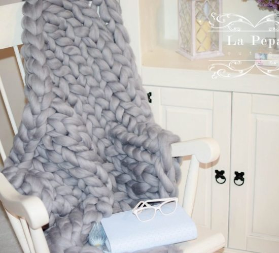 natural wool blanket on rocking chair