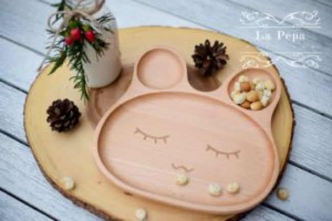 eco kids wooden bunny eco plate