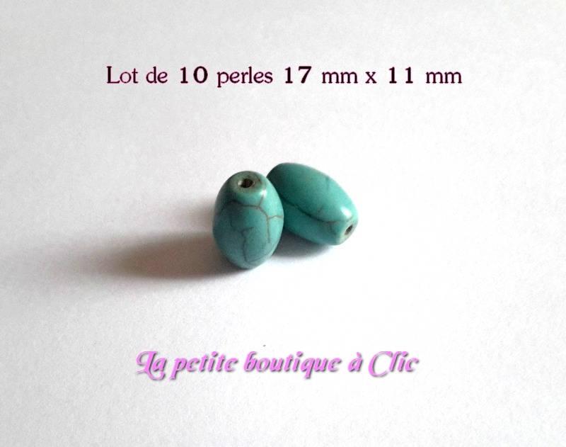 Lot de 10 perles ovales bleu turquoise