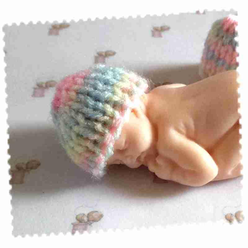 bonnet bébé fimo tricot pastel