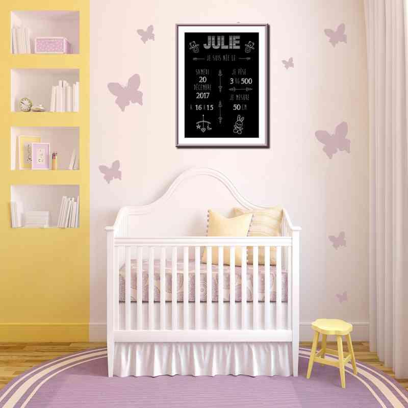 Affiche naissance déco chambre bébé