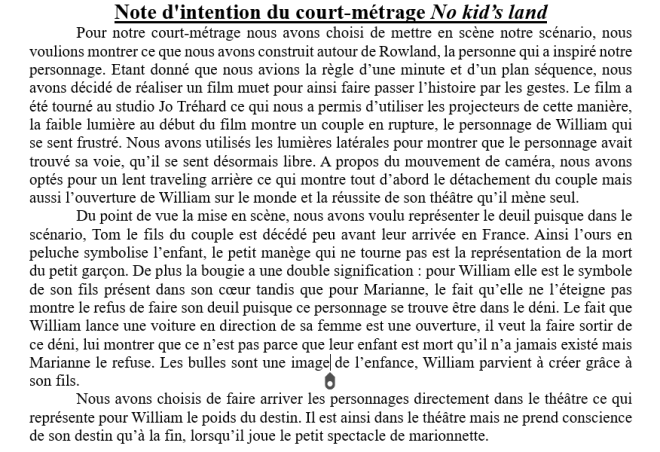 Note d'intention de No kid's land (2015) Scénario