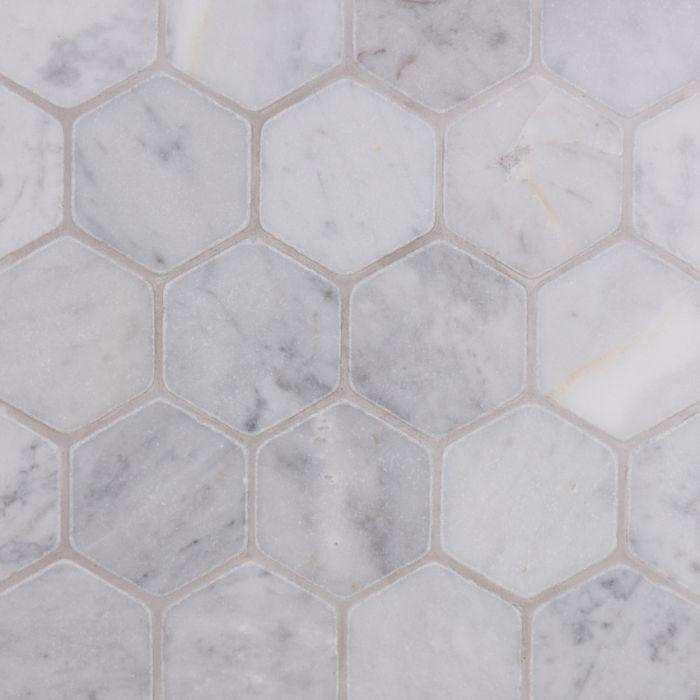 italian carrara hexagon mosaic large