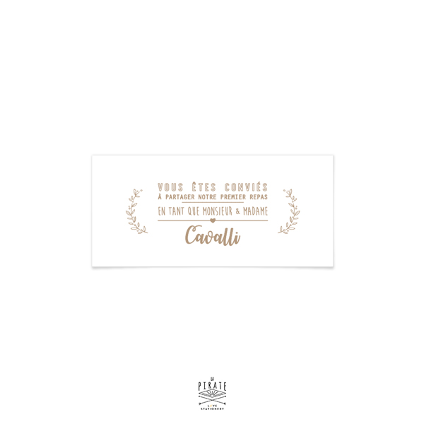 invitation repas mariage champetre couronne olivier