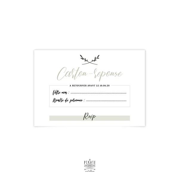 rsvp mariage vegetal carton reponse minimaliste