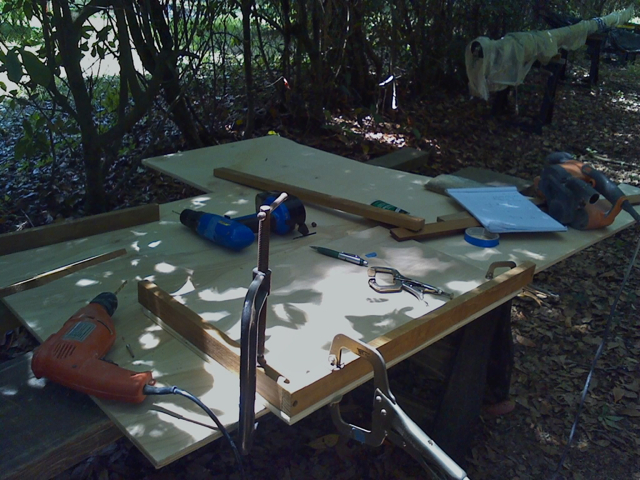 Building the frame with teak lumber