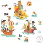 Stickers l'ile aux trésors pirates Djeco