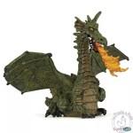Figurine dragon ailé vert avec flammes - Papo