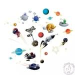 Stickers muraux fusées planètes Djeco