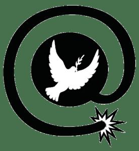 arobase explosif avec colombe de la paix