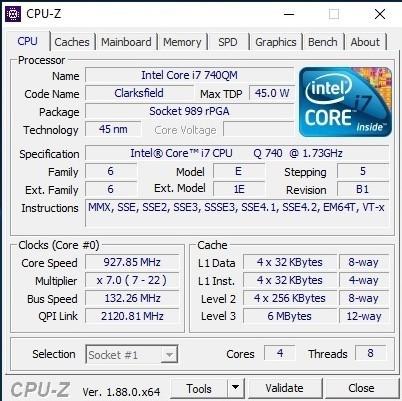 CPU Z Core i7-740QM