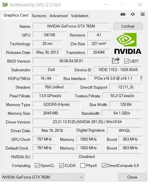 Nvidia GeForce GTX 765M