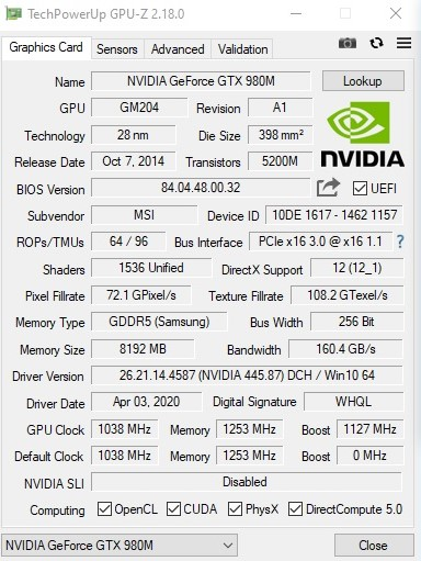 Nvidia GeForce GTX 980M