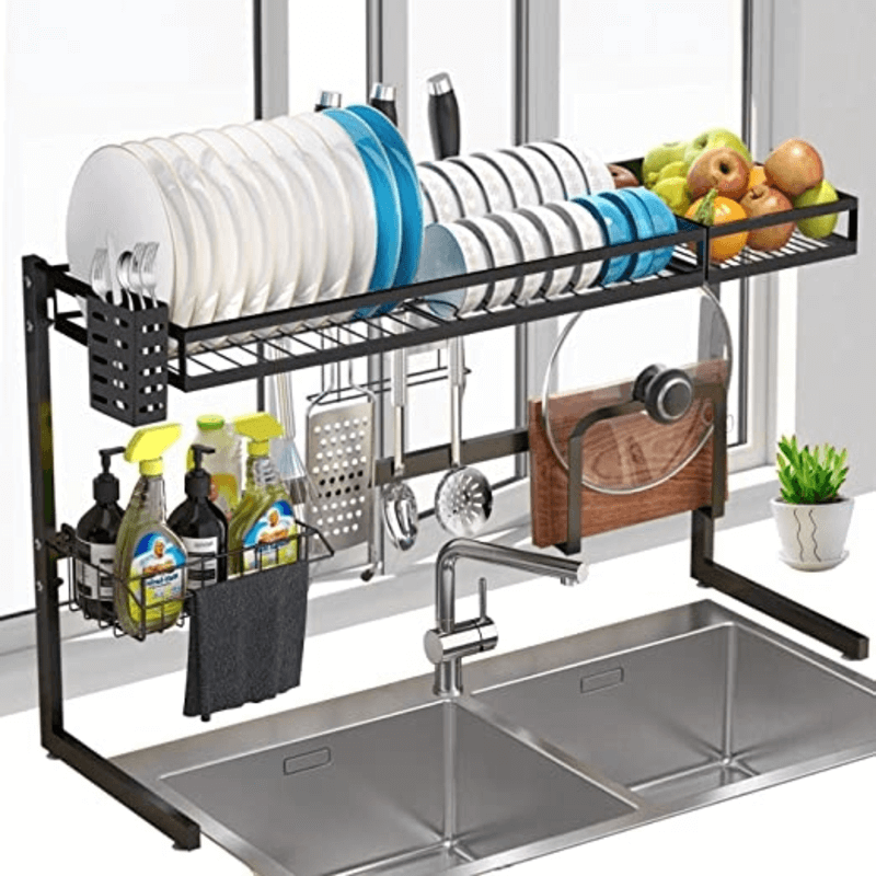 over the sink dish utensils drying rack