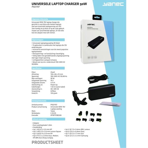 Universele Laptop AC Adapter 90W met 8plugs