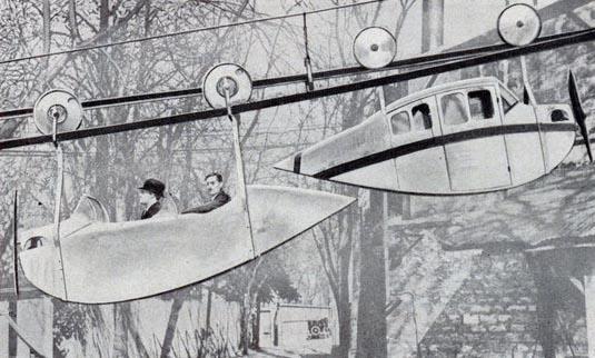 Ipotetica ferrovia sospesa ispirata alle vetture di Leyat, da Popular Science, 1933.