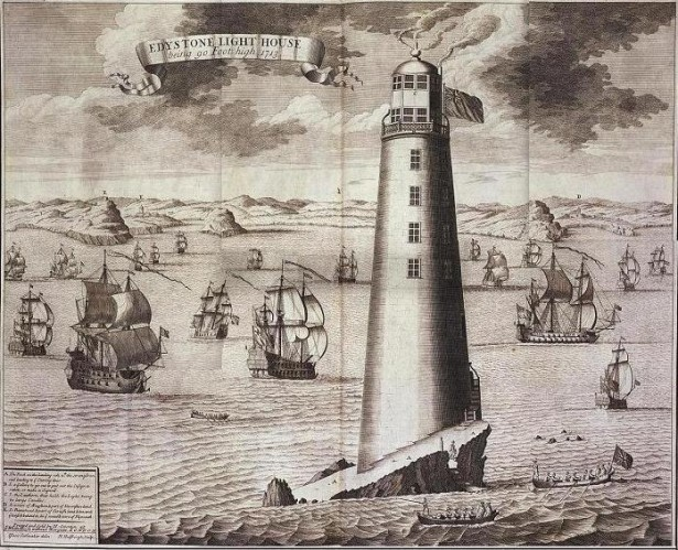 Engraving of the Eddystone Lighthouse