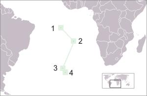 23 - Posizione delle isole del Territorio di S.Elena: 1) Ascensione, 2) S.Elena, 3) Tristan da Cunha, 4) Gough.