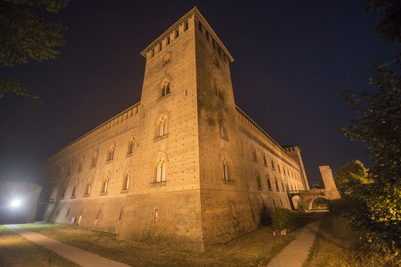 Pavia (Lombardy, Italy): the castle of Visconti at evening