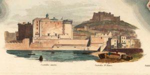 Dettaglio: Castello Nuovo e (sullo sfondo) Castello di S. Elmo.
