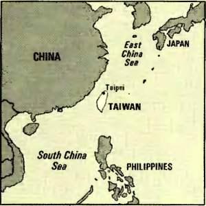 mappa Taiwan e Cina