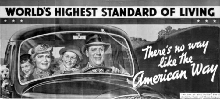 famiglia in automobile, manifesto del 1937.